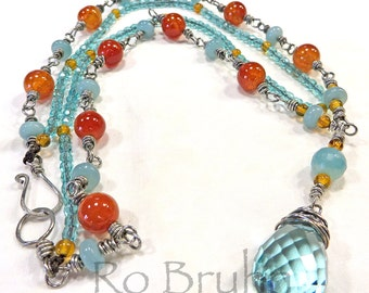 Summer Haze, hand made necklace, carnelian and amazonite beads
