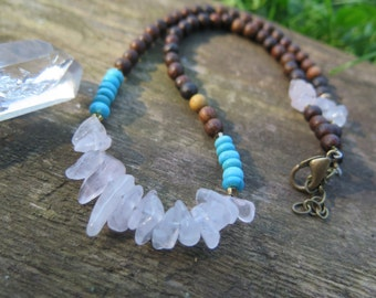 Choker Necklace - Rose Quartz Wood and Howlite - Earthy Bohemian Gypsy - Boho Chic - Inbloomdesigns - Inbloom Jewelry - Funky Hippie Gold