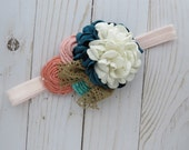 Jade teal coral and pink headband for girls newborn photo prop