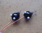 Lampwork Headpins - Glass Headpins - Purple Glass Headpins - Copper wire - Glass Headpins Pair - SueBeads - Headpins