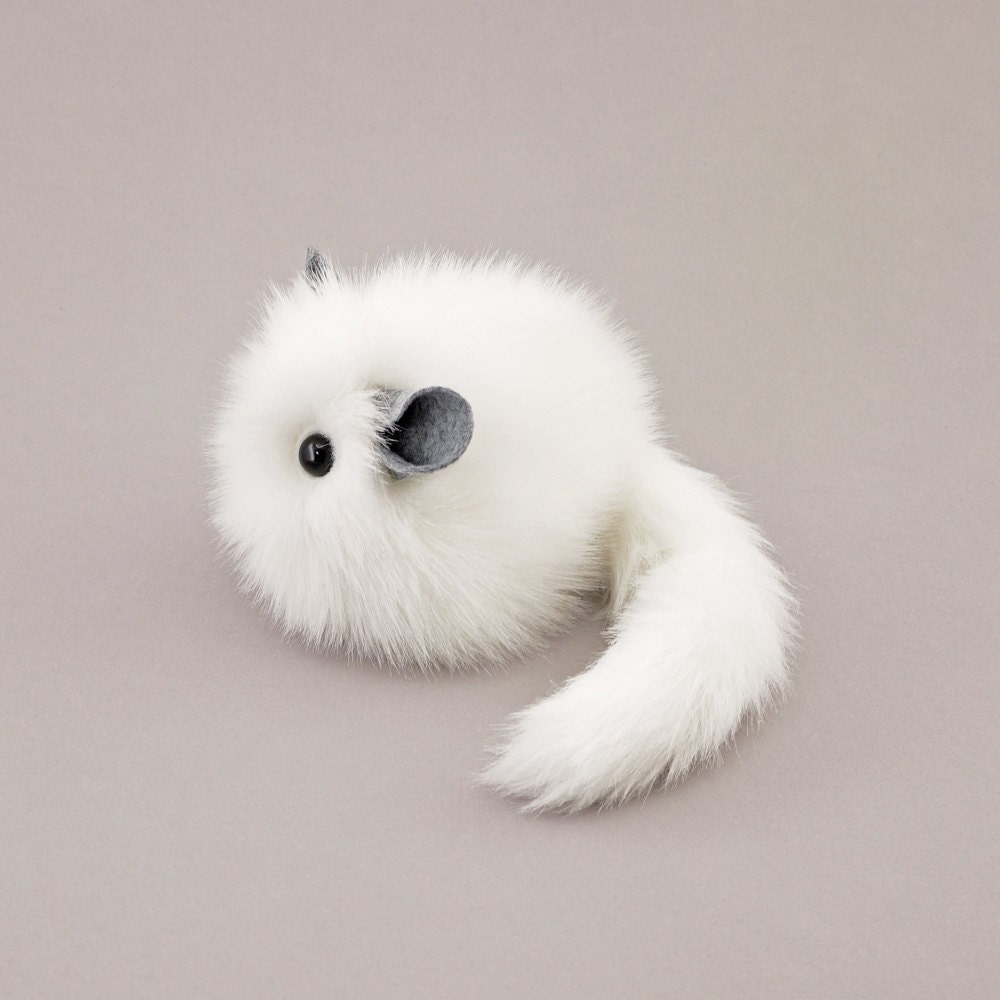 Stuffed White Chinchilla Stuffed Animal Cute Plush Toy Faux