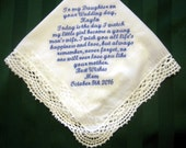 Bridal Handkerchief from Mother to Daughter,Something blue,wedding hankie,wedding gift 207S