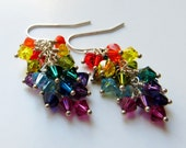 Colors of the Rainbow Earrings - Swarovski Cystal, Sterling Silver