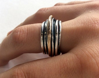 Wedding band, Simple Ring,  sterling silver ring, unisex band, silver gold ring, wire wrap ring, oxidized band, two tone - Mood swings R2065
