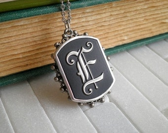 Vintage Initial Letter E Charm Necklace. Old English E Silver & Black Pendant, Personalized Initial Jewelry On A Long Stainless Steel Chain