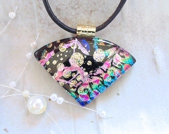 Dichroic Glass Pendant, Necklace, Glass Jewelry, Necklace Included, One of a Kind, Pink, Gold, A8