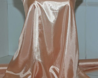 silky habutai Apricot 8  100% polyester, soft, flowing, semi sheer, blouse, scarfs, formal wear, wedding, flags, crafts bty
