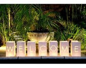 WELCOME sign, Welcome bags, candle bags, candle-bags, flame retardant, wedding decoration, Party Décor, Welcome to our wedding sign
