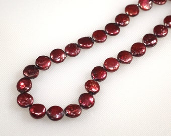 11 mm deep rose pink coin pearls