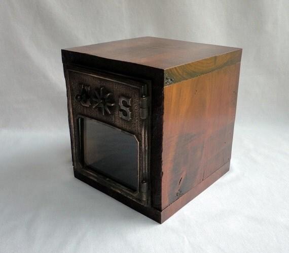 Large Combination Lock Box Safe Vintage Copper Bronze Post