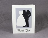 CUSTOM Parent Thank You Card, Wedding Thank You Card, Dress and Suit Card, Flat Rate Shipping, PS1