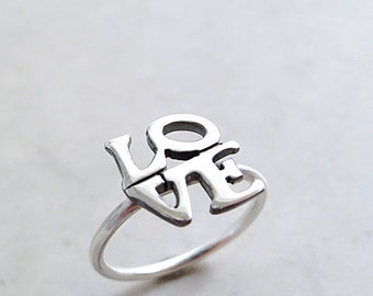 LOVE ring, Sterling Silver, stackable, pop art jewelry