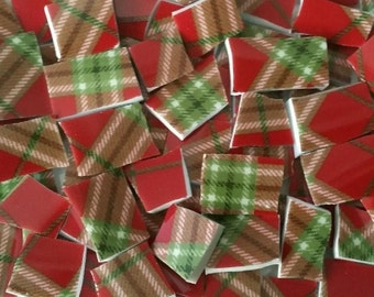 Mosaic Tiles--Plaid Red and Green--75tiles