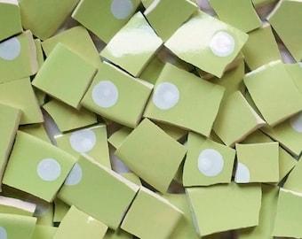 Mosaic Tiles--Green Apple- Polka Dot-- 100 tiles