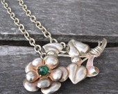 Olivia Necklace - vintage repurposed floral pendant on antiqued silver metal necklace - Free Shipping to USA