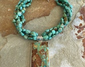 Massive southwest style Kingman turquoise pendant on Kingman turquoise nugget beaded necklace