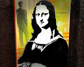 Mona Graffiti Painting on Handmade Canvas Pop Art Style Original Artwork Stencil Urban Street Art