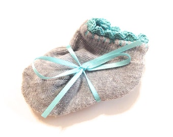 Infant Girl Socks With Aqua Crocheted Shell Stitch-Size 0-6 Months