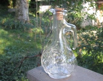 Small Vintage Glass Cruet - Clear Glass Cruet - Salad Dressing Server