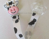 Moovelous Cow print black and white Pacifier Clip Paci Soother Mam Nook Binky Valebinky Holder YOU CHOOSE Loop Snap unisex baby gift