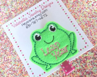 Hair Clip Leap Year girls birthday hair accessory green frog hair clip toad 1 CLIP pink leap day February 29 Feb 29th birthday hair clip