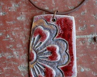 Bold Red Flower Porcelain Pendant