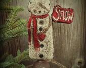 Punch Needle Kit Standing Snowman Valdani Threads Pattern on Weavers Cloth