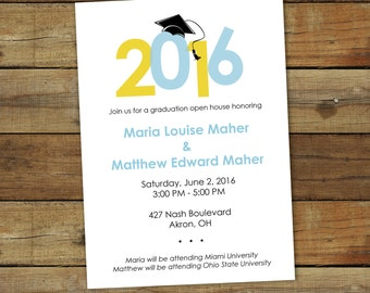 2017 graduation party invitation, graduation cap, printable graduation open house invitation, printable invitation