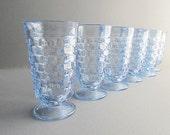 Vintage Drinking Glasses, Blue Glasses, Tall Glasses, Kitchen Glasses, Bar Glasses, Barware