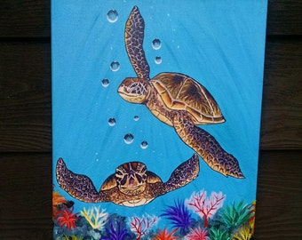 Sea turtles, 11 x 14 Acrylic painting