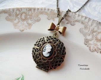 1/2 Price Sale- Scent Locket Necklace with Cameo