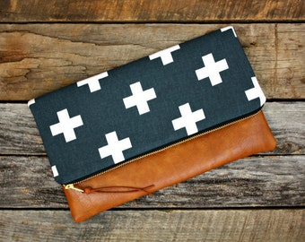 Navy Blue Foldover Clutch / Faux Leather