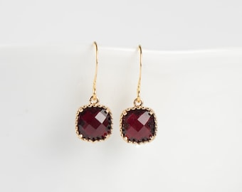 January Garnet Birthstone Gold Earrings, Garnet Gold Square Earrings, January Garnet Earrings, January Birthstone Jewelry, Gold Earrings