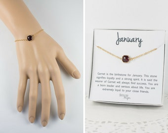 January Birthstone Gold Bracelet,  Garnet Bangle Bracelet, January Birthday Garnet Bracelet, Gold Bracelet, January Birthstone Bracelet