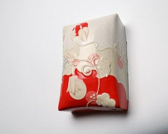 Ceramic wall pillow in Candy Red & Ivory Tulips w. Pink and Navy detail,  Victorian modern Home decor art