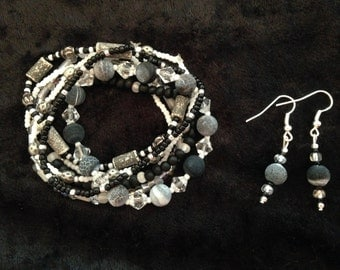 Zebra Stripes Bracelet & Earring Set