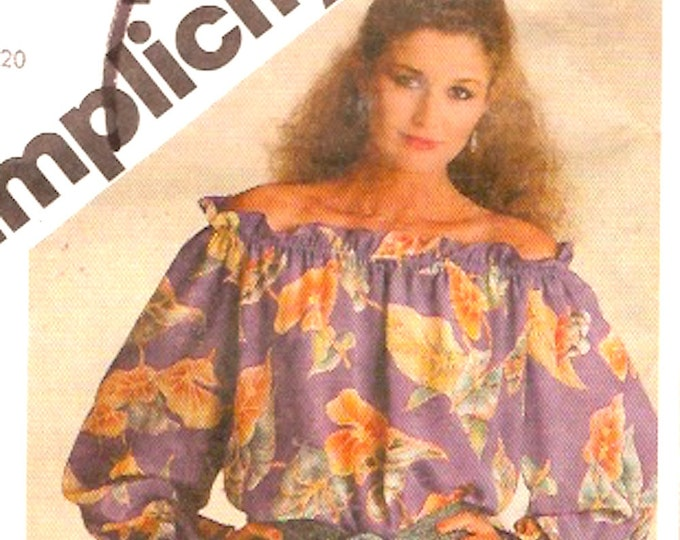 80s Peasant top pullover style casual wear fashion Simplicity 9641 Sz Large UNCUT Bust 40 to 42