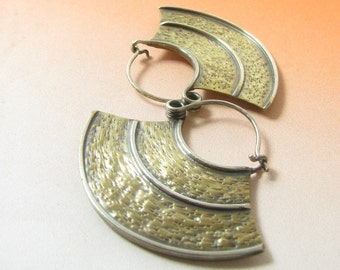 Mixed Metal Earrings Large Hoop Earrings, Statement Earring, Bronze And Silver Motherland Rustic Jewelry, Big Tribal Earrings, Large Earring