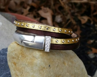 Double Wrap Bracelet in Brown and Gold Studded Leather with Magnetic Clasp and Silver CZ Spacer