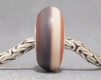 Brown, Ivory & Tan Organic Handmade Stripe Lampwork Glass Bead Euro Bracelet Charm Wild West