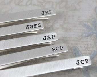 Personalized Groomsmen Tie Clip, Solid Sterling Silver Tie Bar, Personalized Tie Bar, Mens Personalized Groomsmen, custom tie clip
