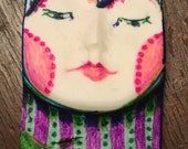 Handmade clay face  goddess  woman doll head  jewelry craft supplies  cabochon  mosaics dolls jewelry craft  spirit