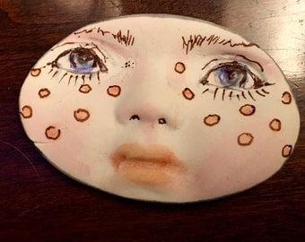 clay face jewelry craft supplies oval handmade cabochon large woman  mask  polymer  indings   doll parts head mask stripes tribal
