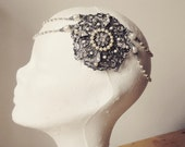 Bridal Hair Chain Great Gatsby Headpiece Bridal Headpiece hair comb Silver Filigree jewelry White Pearls Swarovski Crystal 1920s bridal