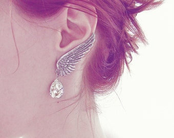 Angel Wing Earrings ear climber Earrings Silver Bridal Clip On Earrings Swarovski drop Silver hypoallergenic nickel free earrings