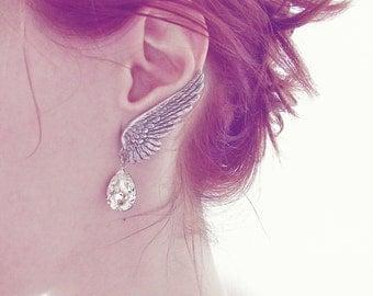 Angel Wing Earrings Swarovski Crystal Drops Clip On Silver Wings Earring Bridal Earrings ear climbers Wedding Jewelry Gothic Jewelry