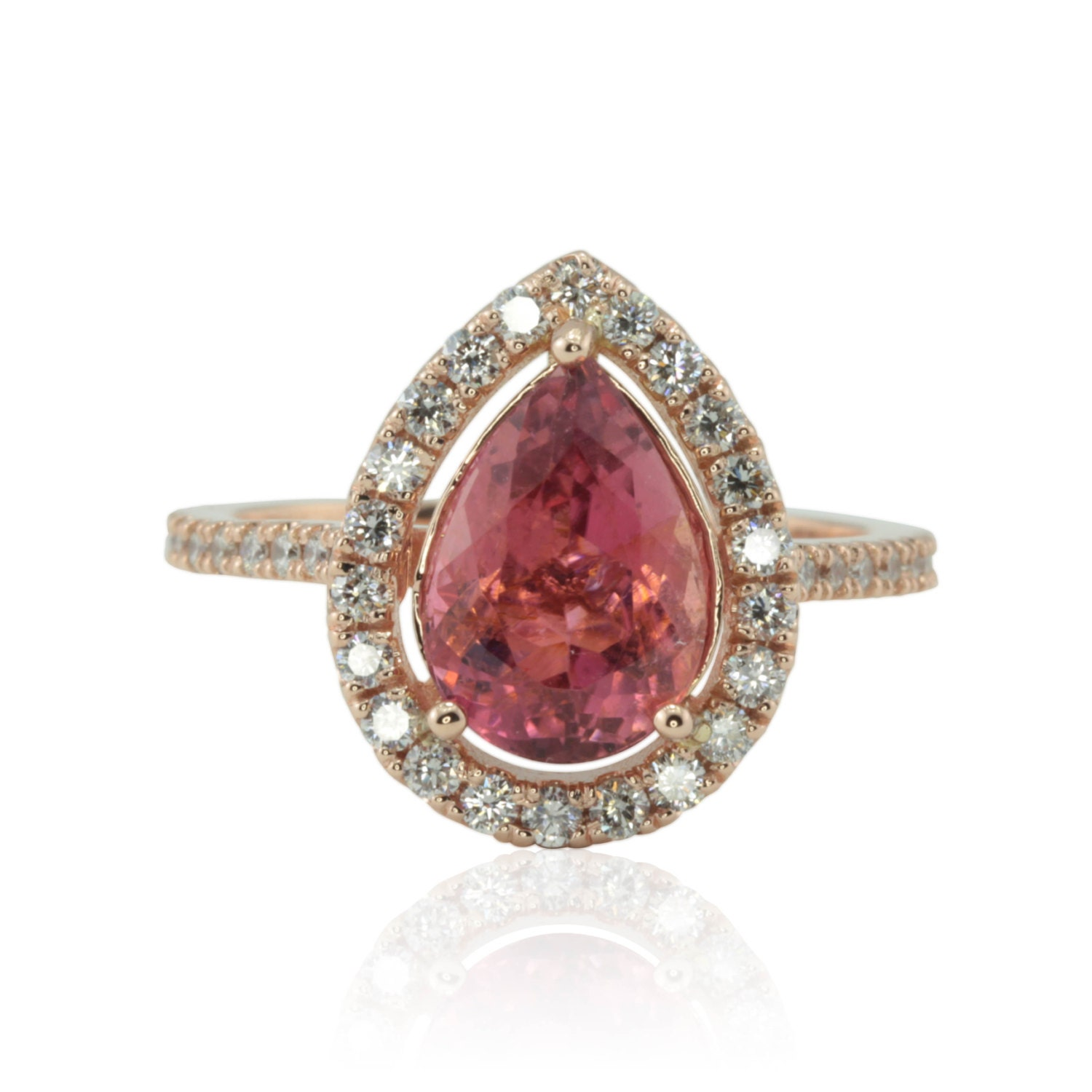Rose Gold Engagement Ring with Pear cut Pink Tourmaline and
