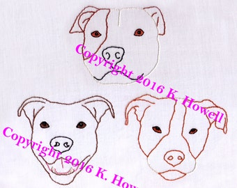 Dog Hand Embroidery Pattern, Pit Bull, Puppy, Faces, Animal, Canine, Pup, Doggy, Pet, PDF