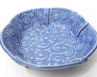 Small Whimsical Blue Textured Swirl Handmade Ceramic Pottery Serving Bowl