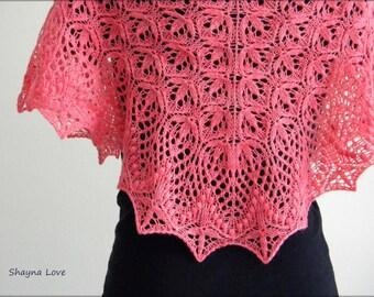 Hand Knit Lace Shawl - Scarf - Pink baby merino shawlette